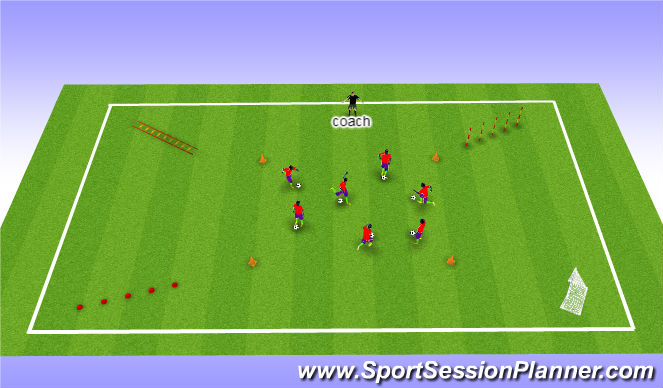 Football/Soccer Session Plan Drill (Colour): Warm up with ball dribbling