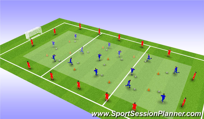 Football/Soccer Session Plan Drill (Colour): Warm up into first activity
