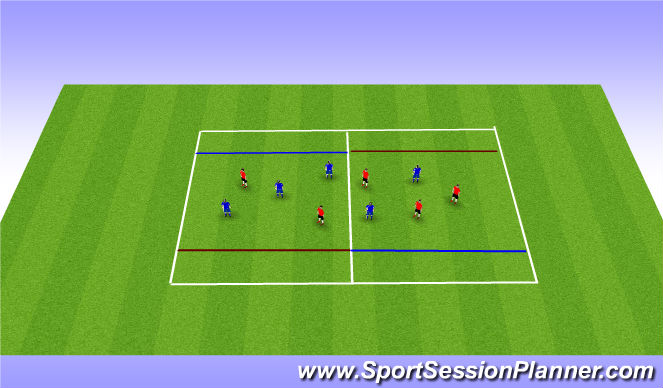 Football/Soccer Session Plan Drill (Colour): 5v5 diagoanl endzone game