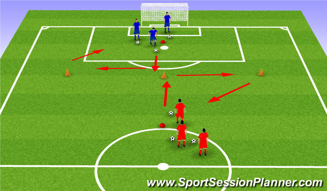 Football/Soccer Session Plan Drill (Colour): Diamond Dribbling