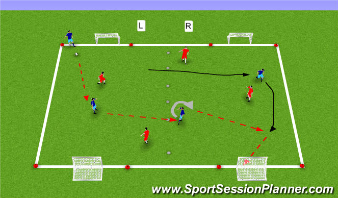 Football/Soccer Session Plan Drill (Colour): Diagonals Cond Game