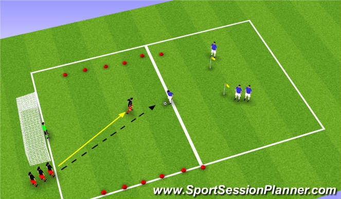 Football/Soccer Session Plan Drill (Colour): Sm Sided Game-Small Group Defending