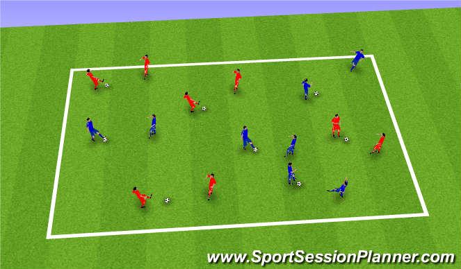 Football/Soccer Session Plan Drill (Colour): PASS AND MOVE IN 2s