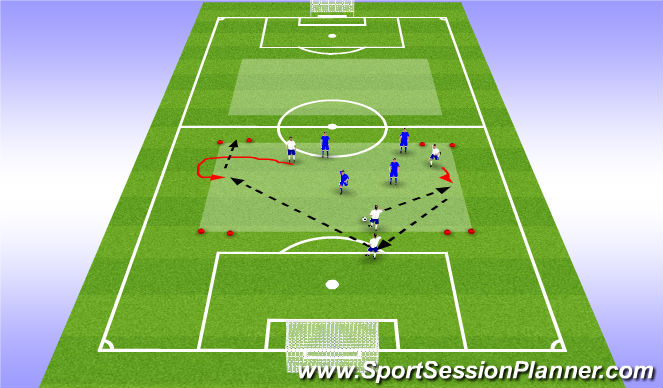 Football/Soccer Session Plan Drill (Colour): 4v4 - corner goal game