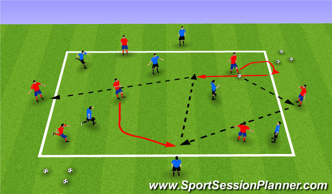 Football/Soccer Session Plan Drill (Colour): 2+5v5 Possession