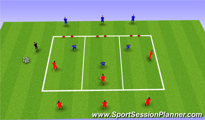 Football/Soccer Session Plan Drill (Colour): Defending Exercise 2