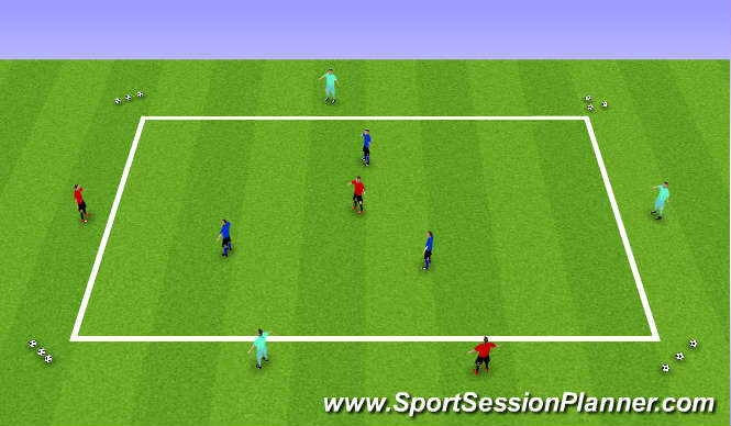 Football/Soccer Session Plan Drill (Colour): Possession - 9 players