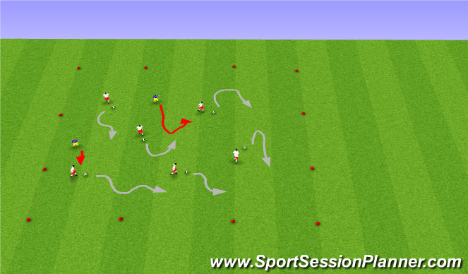 Football/Soccer Session Plan Drill (Colour): Warm up Freeze Tag