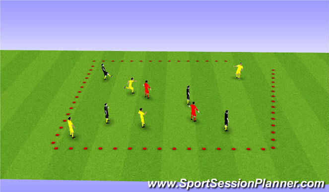 Football/Soccer Session Plan Drill (Colour): 2 nuetral kepper away