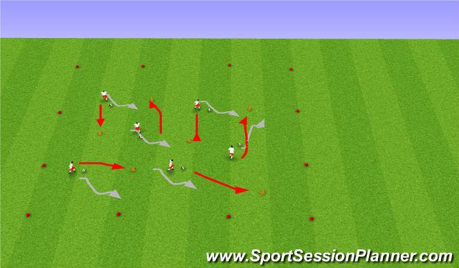 Football/Soccer Session Plan Drill (Colour): Musical Chair Dribbling