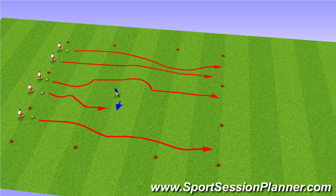 Football/Soccer Session Plan Drill (Colour): Freeze tag progression