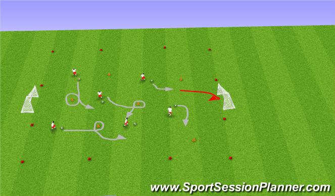 Football/Soccer Session Plan Drill (Colour): Cars dribbling