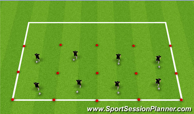 Football/Soccer Session Plan Drill (Colour): Station 4: Ball-Mastery + Technical Skills Testing