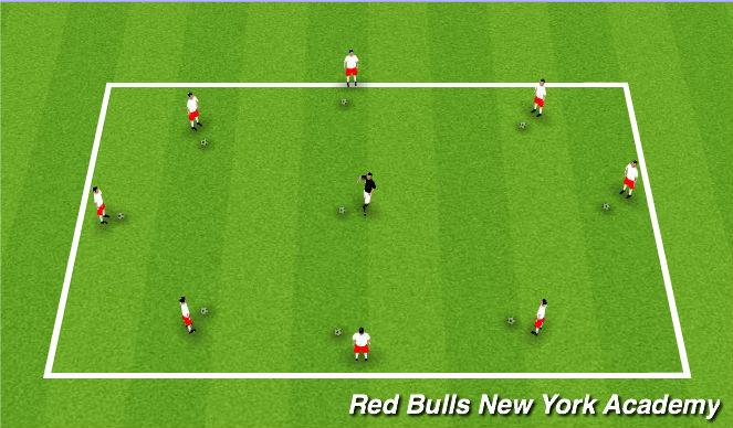 Football/Soccer Session Plan Drill (Colour): Rhythmic Warm-up