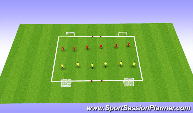 Football/Soccer Session Plan Drill (Colour): 1v1 Main