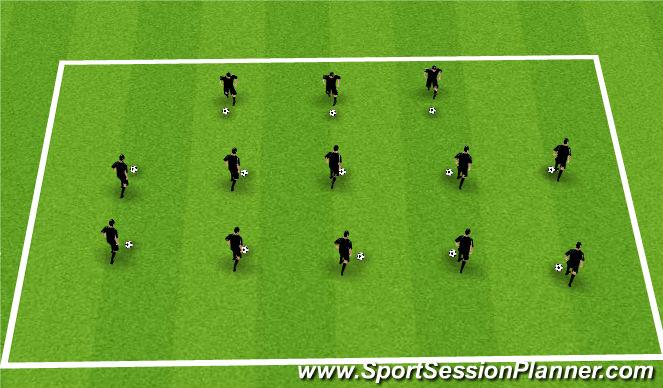 Football/Soccer Session Plan Drill (Colour): Techincal Warm Up- Foot Skills
