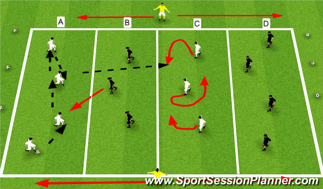 Football/Soccer Session Plan Drill (Colour): Penetration- Over The Gap