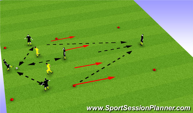 Football/Soccer Session Plan Drill (Colour): 4v2: pass advance