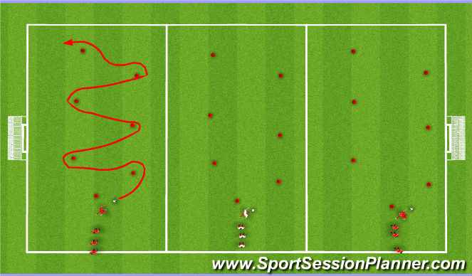 Football/Soccer Session Plan Drill (Colour): Week #2 -Dibbling Through Cones