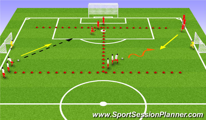Football/Soccer Session Plan Drill (Colour): Week #6 -1v1 Attacking with Shooting
