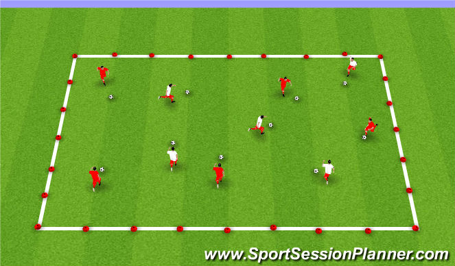 Football/Soccer Session Plan Drill (Colour): Week #8 -Dribbling Box Progression