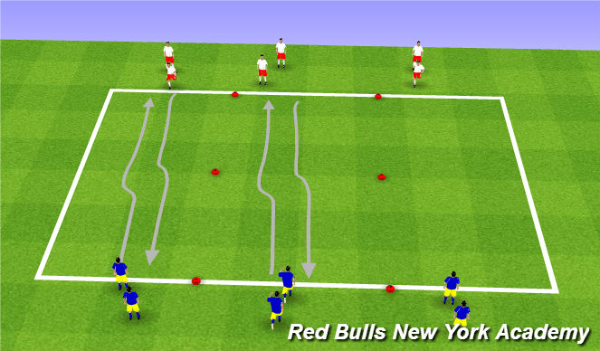 Football/Soccer Session Plan Drill (Colour): 1v1 w/o Ball