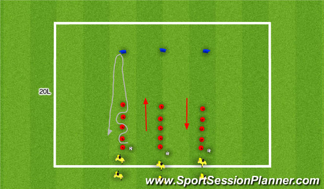 Football/Soccer Session Plan Drill (Colour): Ball Mastery and Turns