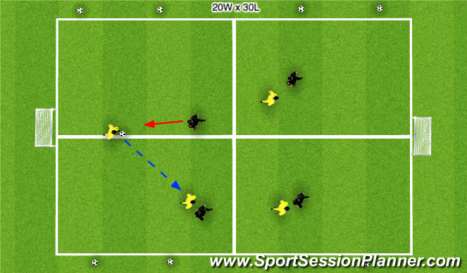 Football/Soccer Session Plan Drill (Colour): 4 v 4 - four squares