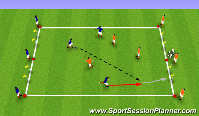 Football/Soccer Session Plan Drill (Colour): 3v3 Outta Here