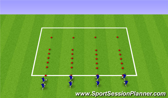 Football/Soccer Session Plan Drill (Colour): Dribbling Warm-Up 2