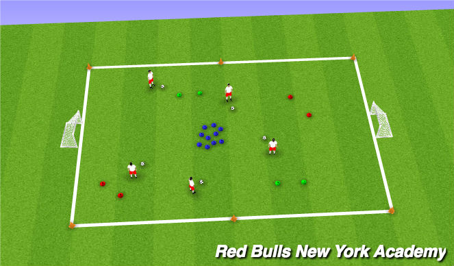 Football/Soccer Session Plan Drill (Colour): Spaceship dribbling