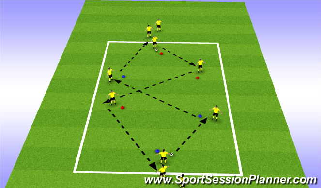 Football/Soccer Session Plan Drill (Colour): Warm Up Variation 10