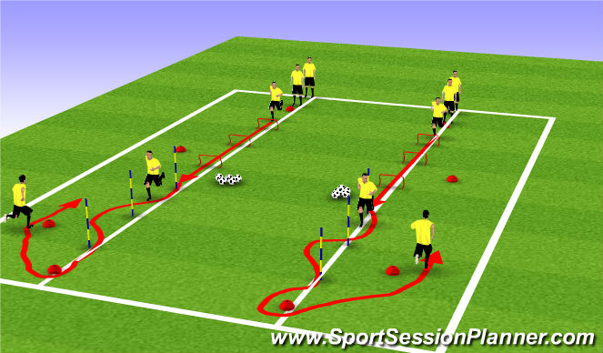 Football/Soccer Session Plan Drill (Colour): Warm Up Speed and Agility