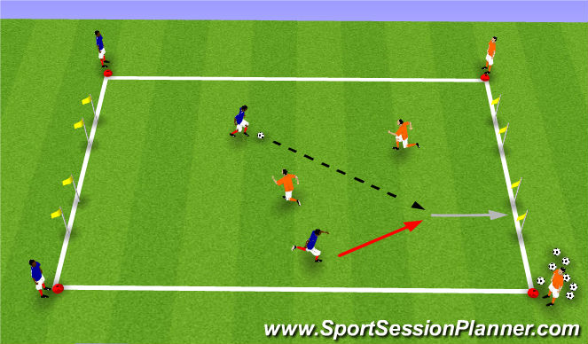 Football/Soccer Session Plan Drill (Colour): 2v2 Outta Here