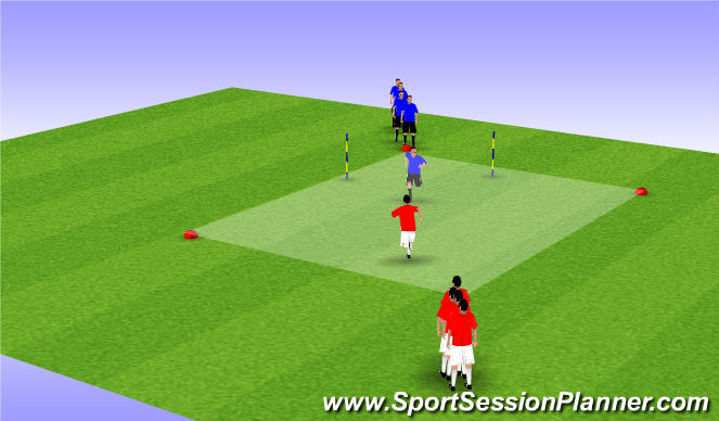 Football/Soccer Session Plan Drill (Colour): Defending Warm-Up Part 1