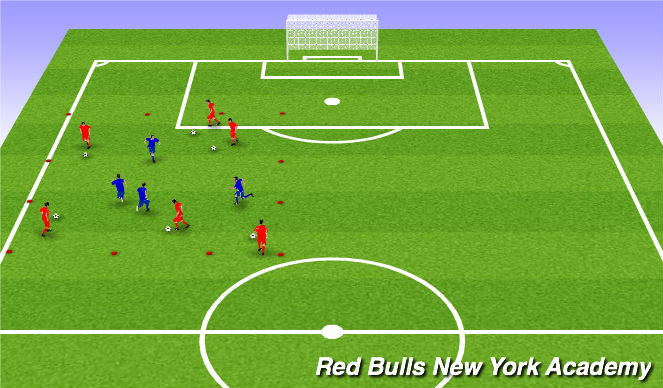 Football/Soccer Session Plan Drill (Colour): 1 v. 1 Warm up