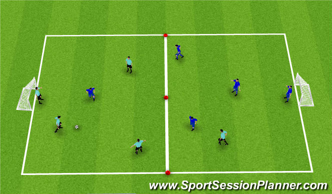 Football/Soccer Session Plan Drill (Colour): 5v5 SSG