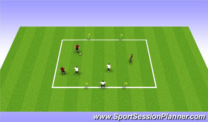 Football/Soccer Session Plan Drill (Colour): 3 v 2 + 1