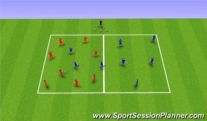Football/Soccer Session Plan Drill (Colour): 8v8 - 5 transition
