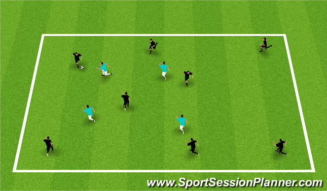 Football/Soccer Session Plan Drill (Colour): 8 v 4 keepaway
