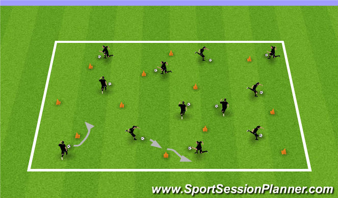 Football/Soccer Session Plan Drill (Colour): Ball Each with cones