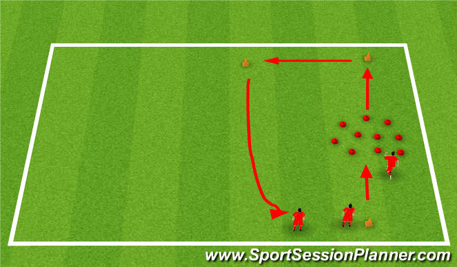Football/Soccer Session Plan Drill (Colour): Toe Tap Warm Up