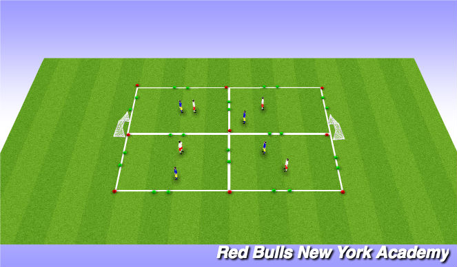 Football/Soccer Session Plan Drill (Colour): 4 game goal