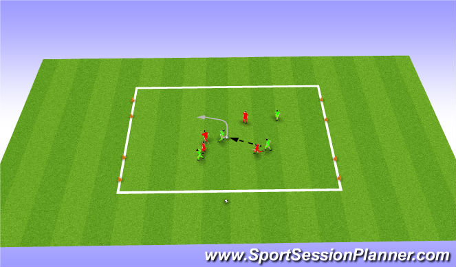 Football/Soccer Session Plan Drill (Colour): Turning - Four goal game