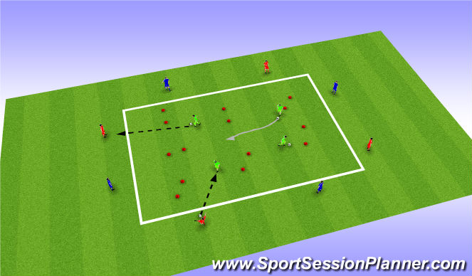 Football/Soccer Session Plan Drill (Colour): Turning - Receiving and turning (unopposed)