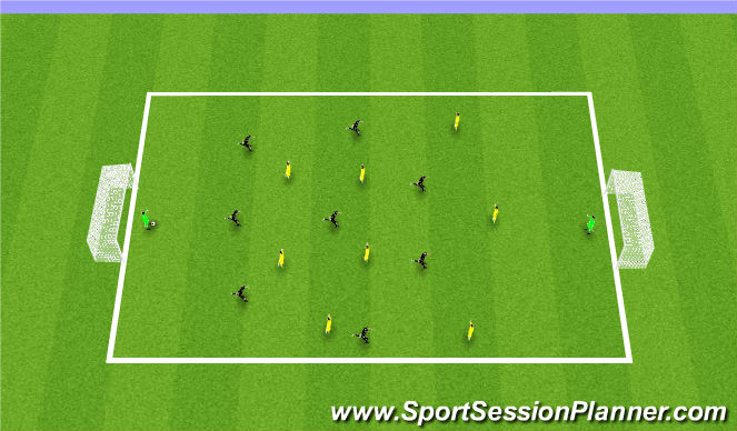 Football/Soccer Session Plan Drill (Colour): 9 v 9 scrimmages