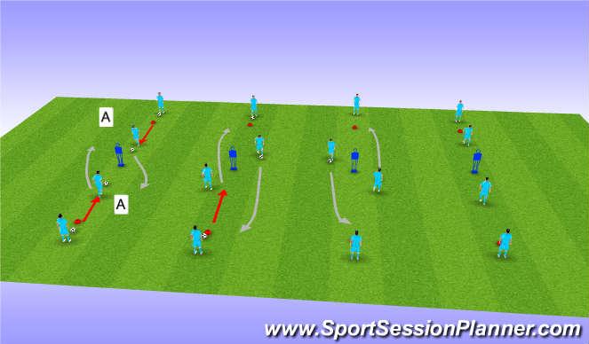 Football/Soccer Session Plan Drill (Colour): Dribbling at Opponant