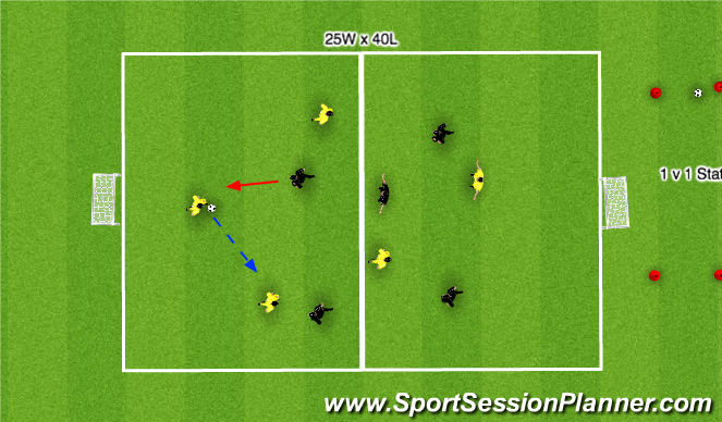 Football/Soccer Session Plan Drill (Colour): 4 v 4 - plus 1 v 1 field