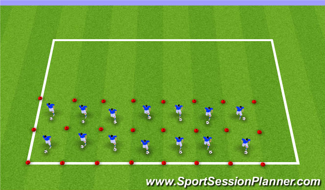 Football/Soccer Session Plan Drill (Colour): Station 2: Ball Mastery
