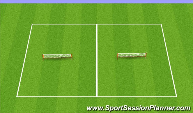 Football/Soccer Session Plan Drill (Colour): Station 1: Soccer Tennis Warm-up